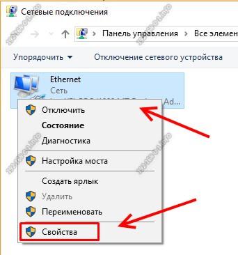 свойства сетевого подключения ethernet