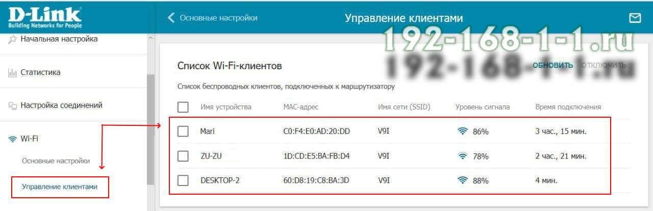 список устройств подключенных по WiFi