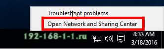 hown to Open Network and Sharing Center