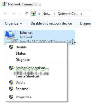 Ethernet connetion properties